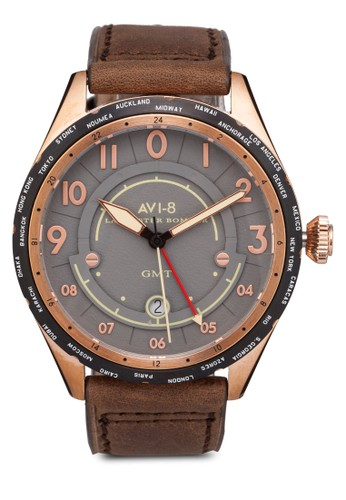 Lanesprit暢貨中心caster Bomber 皮革手錶, 錶類, 休閒型