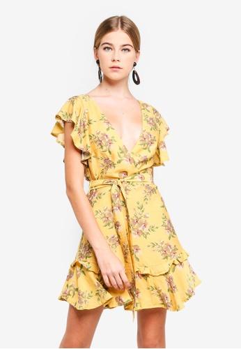 INDIKAH yellow Ruffle Cap Sleeve Skater Dress 5942EAA801C299GS_1