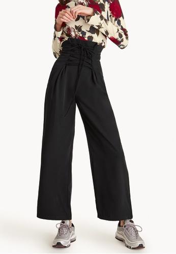 Pomelo black Lace Up Waist Wide Leg Pants - Black 6F426AAFEB3C68GS_1