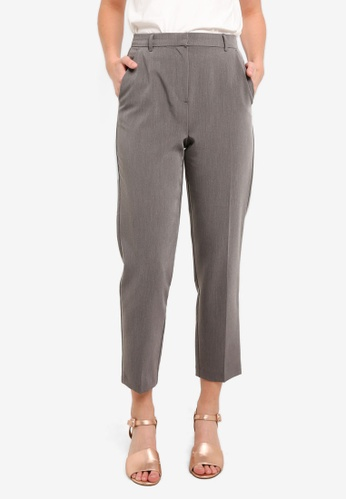 TOPSHOP grey High Waisted Cigarette Trousers TO412AA0RMXLMY_1