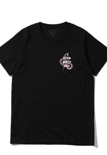 MUSIUM DIV black Snake print logo tee 12ED6AAC7B0B93GS_1