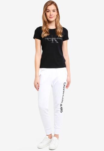 Calvin Klein black A-Satin Monogram Log - Calvin Klein Jeans 96B40AABAAB2AAGS_1