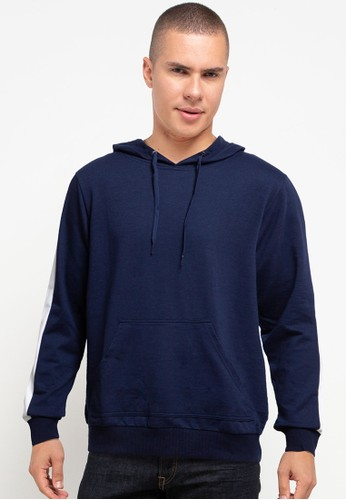 Tolliver navy Sleeve Lining Pull Over Hoodies C7FD1AA55EB8C1GS_1