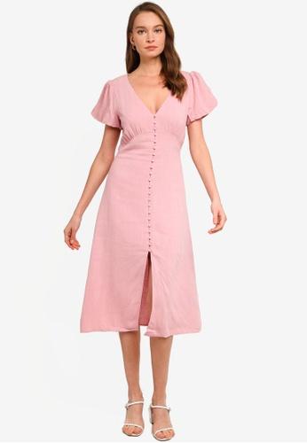 Sável pink Pia Midi Dress 3F665AA07428B8GS_1