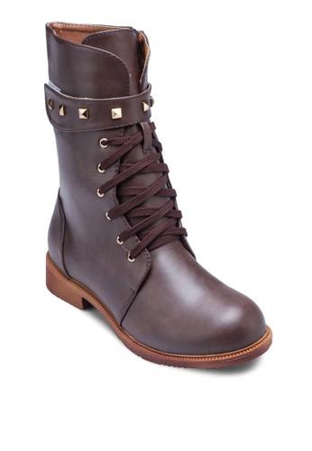Joy 鉚釘魔術貼繫帶中筒靴, 女鞋, zalora 手錶鞋