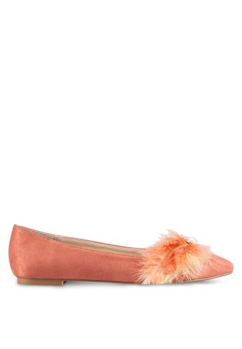 ZALORA pink Feather Embellished Ballerina Flats 4B201SH69C46D1GS_1