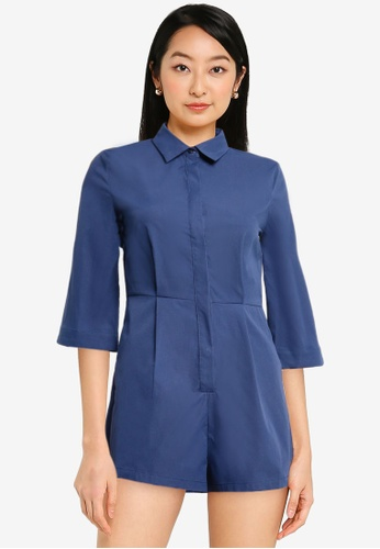 ZALORA BASICS navy Shirt Playsuit With Wide Sleeves C77DFAA3227DF4GS_1