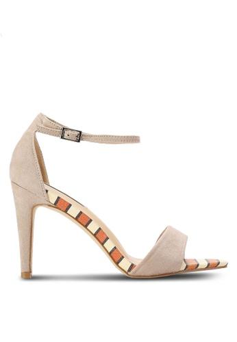 Nose beige Snake Print Heel Sandals NO327SH0RC7LMY_1