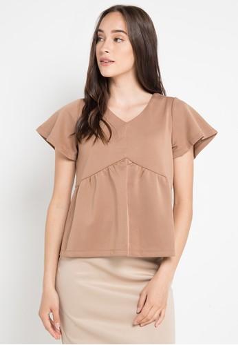 ELLE brown Blouse Short Sleeves Shirt 3F4D9AAD6240A4GS_1