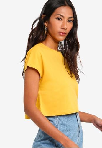 ZALORA BASICS yellow Basic Boxy T-Shirt 8048BAA7707E94GS_1