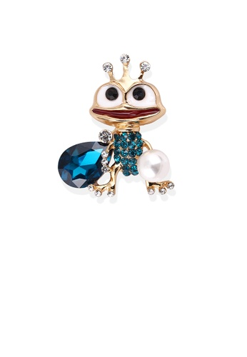 Glamorousky blue Creative Personality Plated Gold Frog Prince Brooch with Blue Cubic Zirconia 55760AC38A2F6FGS_1