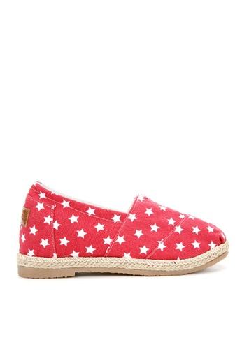 KissXXX 紅色 美國星星系列美腿效果5CM內增高帆布休閒鞋 KI603SH09MUGTW_1