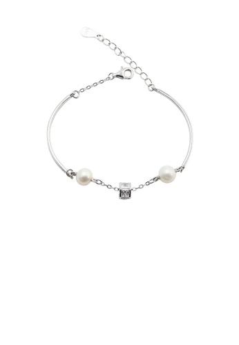 Glamorousky white 925 Sterling Silver Fashion Simple Geometric Square White Freshwater Pearl Bracelet 7B08AAC1E6C422GS_1