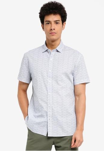 MANGO Man 白色 短袖印花襯衫 5BC8FAAAA47B99GS_1