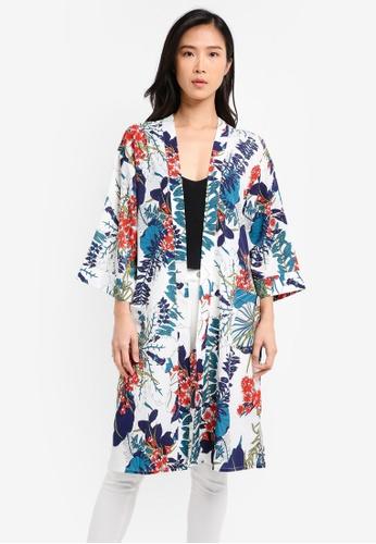 ZALORA white and multi Kimono with Pockets 526FDAACEAC578GS_1