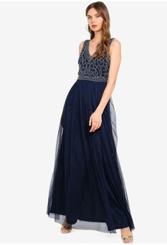 a03700601 Frock and Frill navy Flavia Embellished Bodice Maxi Dress 3E1D0AAC323FF1GS 1