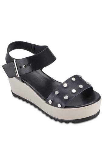 鉚釘飾寬帶厚底楔型跟esprit home 台灣涼鞋, 女鞋, 鞋