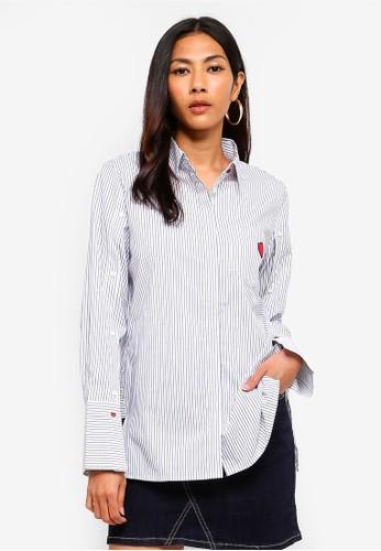 Hopeshow blue Long Sleeve Striped Button Shirt EECFBAA617BC1FGS_1