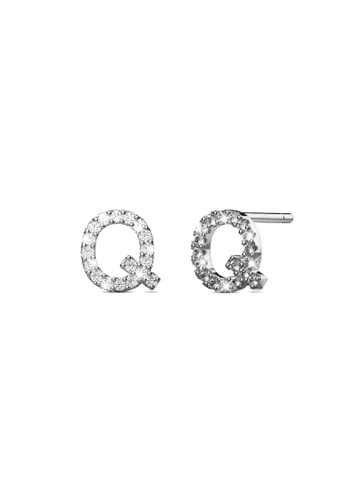 925 Signature gold 925 SIGNATURE Solid 925 Sterling Silver Glamour Alphabet Letter Earrings  - Q 2F5B8AC3A205A8GS_1