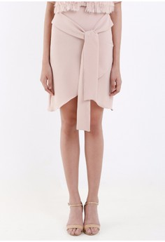 [PRE-ORDER] Blush Overlap Crepe Pencil Skirt with Ribbon