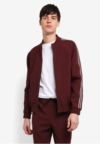 Topman red Burgundy Side Stripe Zip Up Jacket TO413AA0RXVCMY_1