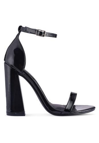 MISSGUIDED 黑色 漆皮繞帶粗跟鞋 E47B8SH84EFFDFGS_1