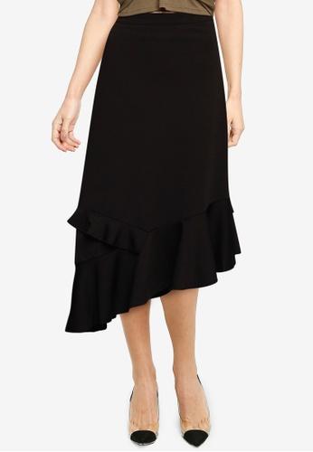 Nichii 黑色 Asymmetrical Ruffle Skirt 5093FAAD387666GS_1