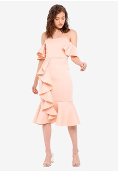 031a716fcd Miss Selfridge Nude Ruffle Scuba Bardot Midi Dress RM 299.00. Sizes 6 8 10  12 14