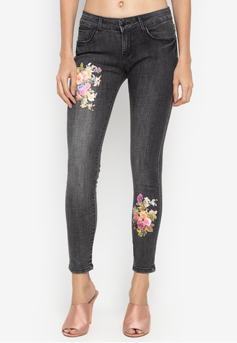 Balaynor black Fashion Skinny Faded Jeans with Painted Flower 66104AA385C2C7GS_1