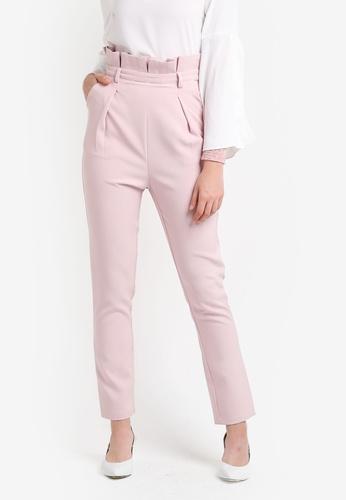 Zalia pink Paper Bag Pants 88CB2ZZ380783AGS_1
