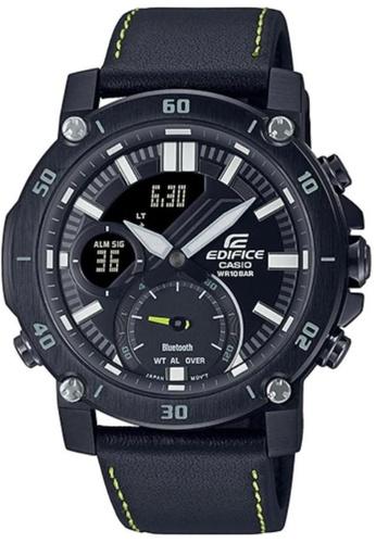 CASIO black Casio Edifice ECB-20CL-1ADF Black Leather Watch 7A236ACD7DD93FGS_1