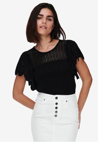 JACQUELINE DE YONG black Solis Knit Top F5B6FAACF4B6A0GS_1