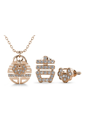 Her Jewellery gold Happiness Set - Made with premium grade crystals from Austria B4BD7AC8DEA1FBGS_1
