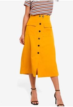 de36b97a33ca ZALORA yellow Buttons Detail Maxi Skirt 94FBAAA6BE73EFGS_1