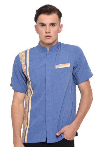 Java Seven Muslimwear blue Koko Shirt Patterned Blue BF73AAA8F31563GS_1