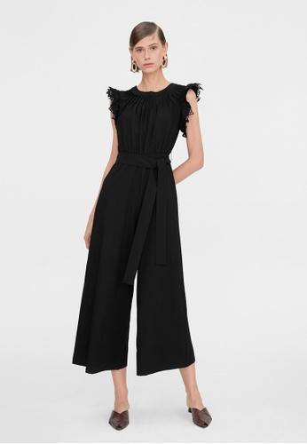 Pomelo black Sleeveless Lace Wide Leg Jumpsuit - Black F6CCEAAFB29354GS_1