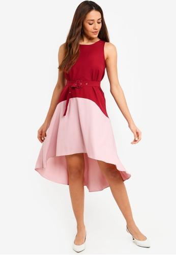 ZALORA red and multi Contrast Flare Hem Dress 594AEAA6BEB140GS_1