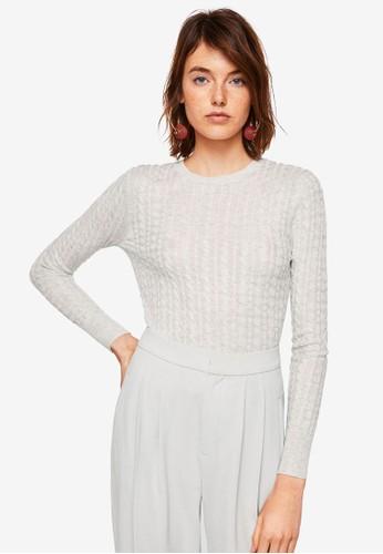 Mango grey Cable-Knit Sweater B5090AAA90A4B3GS_1