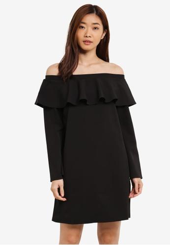 ZALORA black Off Shoulder Dress With Ruffle A54ECAABD0C8DDGS_1