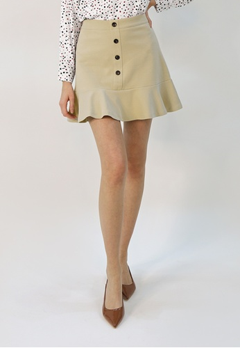 Cheetah beige C.Union Fluted Skirt- CUL-12270 0CA5DAA6C9298EGS_1