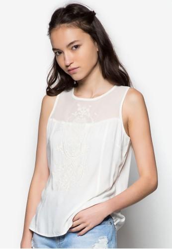 刺繡圖案網zalora時尚購物網評價紗無袖上衣, 服飾, 上衣