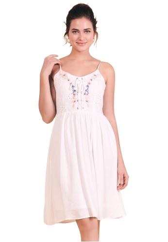 Kitschen white Embroidered Cross String Dress 027B4AA5FE03E7GS_1