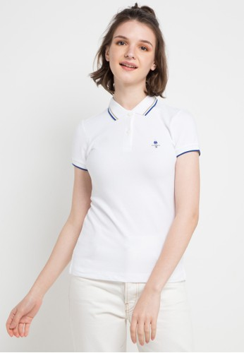 Giordano white Classic Women Embroidery Polo 628DAAA4F99BF9GS_1
