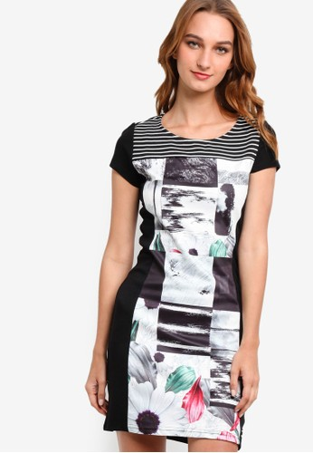 Cami 印花短袖連身esprit mongkok裙, 服飾, 洋裝