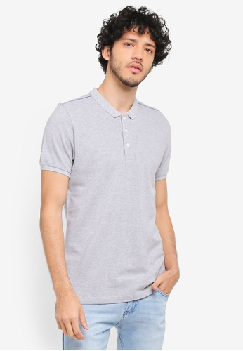 ZALORA grey Pique Polo With Chainstitch Detail 41763AA20D6BB8GS_1