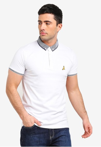 Brave Soul white and multi Jersey Polo Shirt 55C5CAAFE9B592GS_1