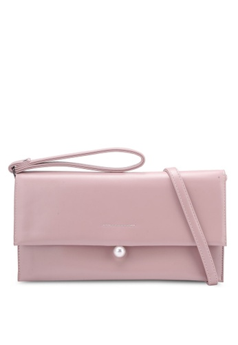 Velvet pink Clutch Bag With Pearl Detail Clasp 217E8AC530E83CGS_1