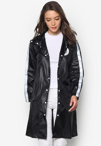 zalora 台灣門市色塊鈕扣連帽大衣, 服飾, 夾克 & 大衣