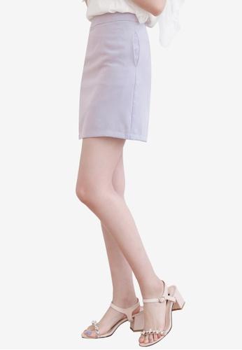 Eyescream grey and purple Basic High Waist Mini Skirt FE62BAAF7B4727GS_1