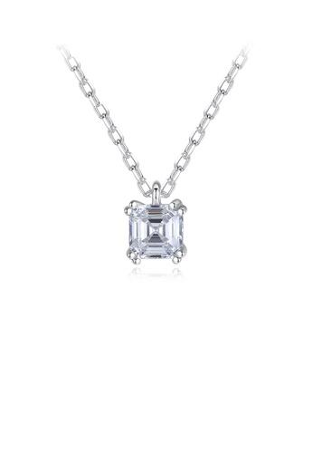 Glamorousky 白色 925純銀簡約時尚幾何方形吊墜配鋯石及項鏈 91EF1AC25E3DB6GS_1
